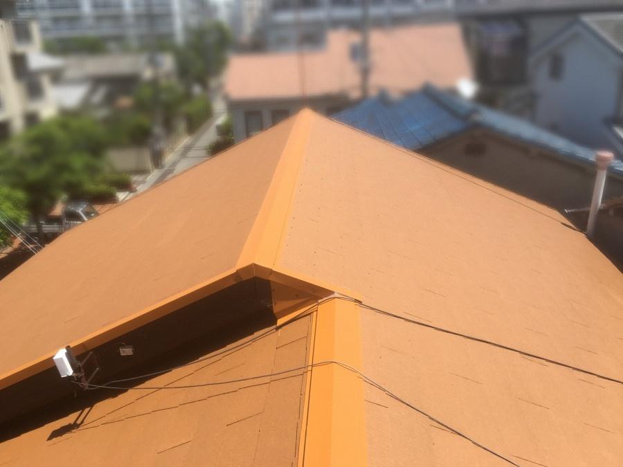 屋根葺き替え工事後のカラーベスト屋根