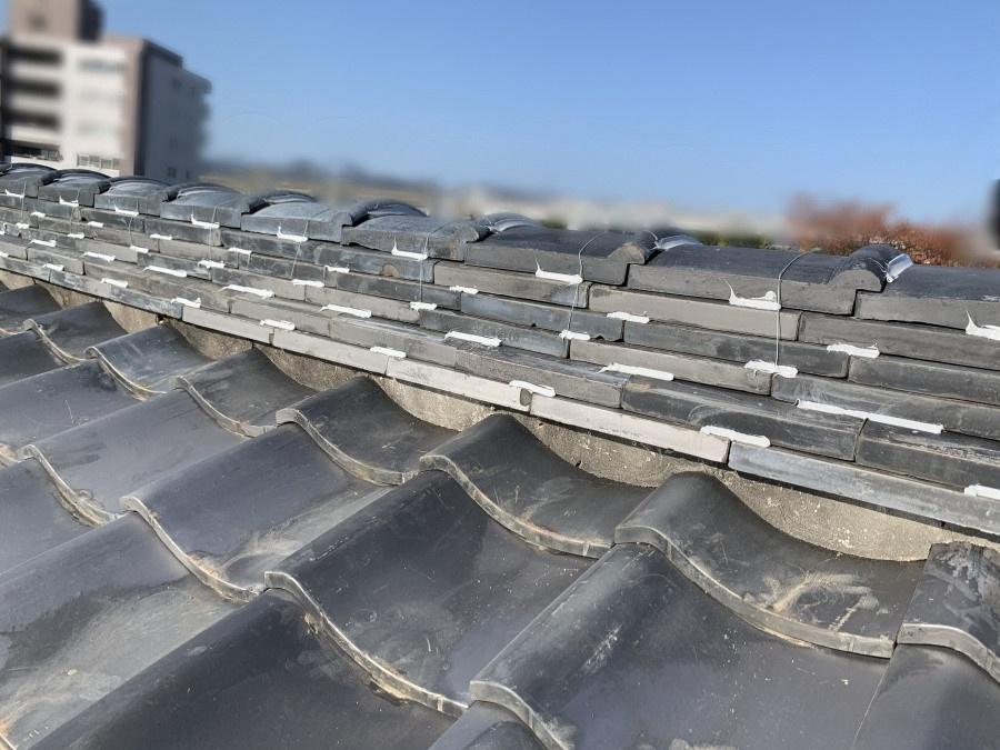 ラバーロック工法による瓦修理が完了した瓦屋根