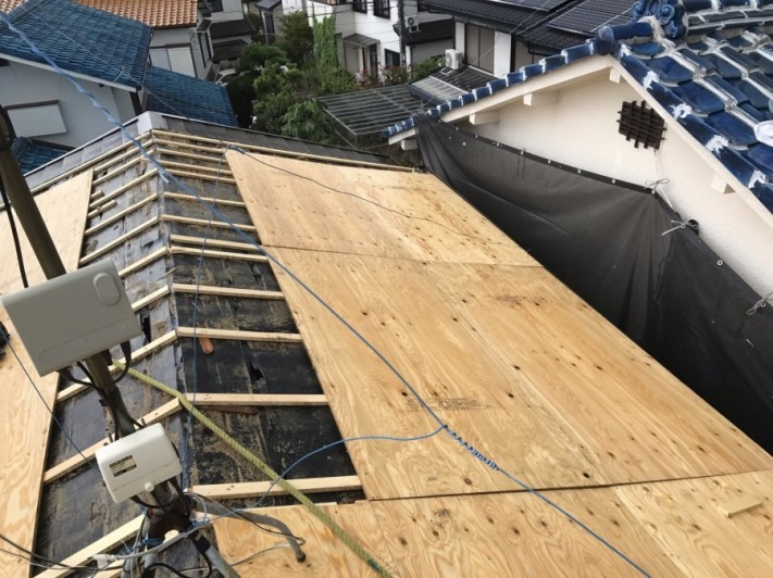 下地処理・胴縁と構造用合板12ミリ