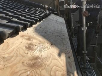 庇屋根の下地構造用合板の施工