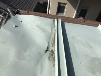 破れて穴のあいた金属屋根