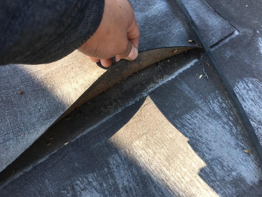 屋上のシートが雨漏りによりはがれている