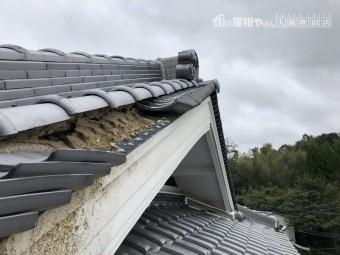 台風で飛ばされたケラバ部の瓦