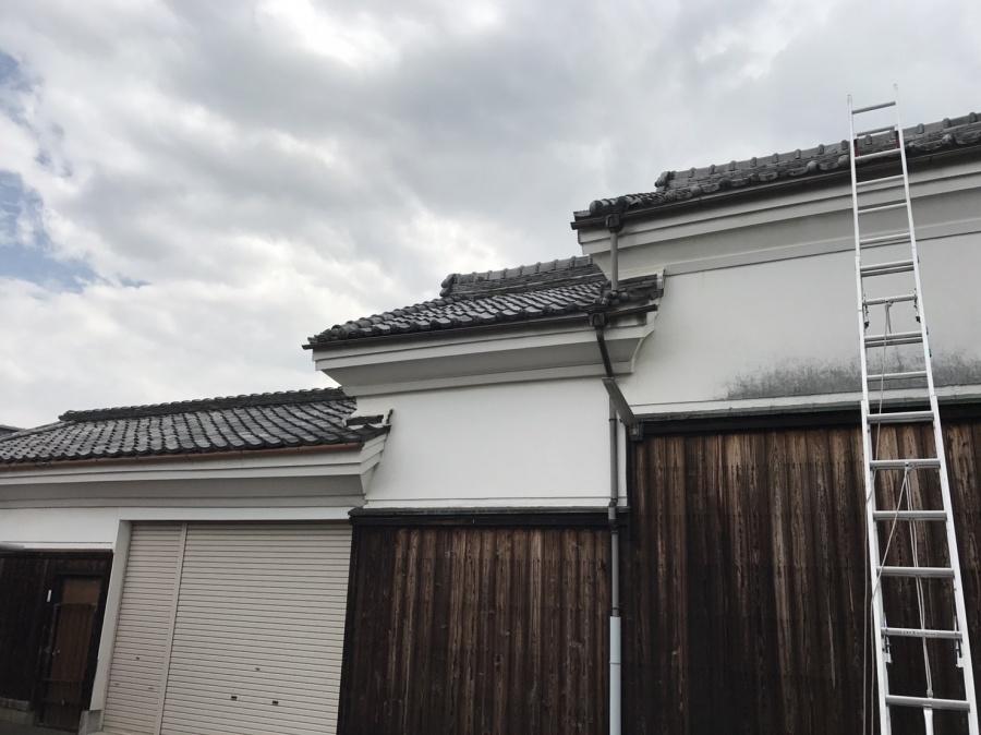 三棟続きの蔵の屋根調査