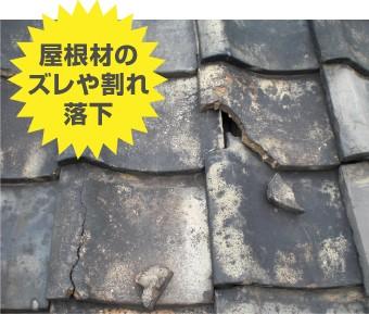 台風被害:屋根材のズレや割れ、落下